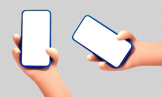 透明な背景に分離された白い空白の画面でスマートフォンを保持しているベクトル漫画人間の手。