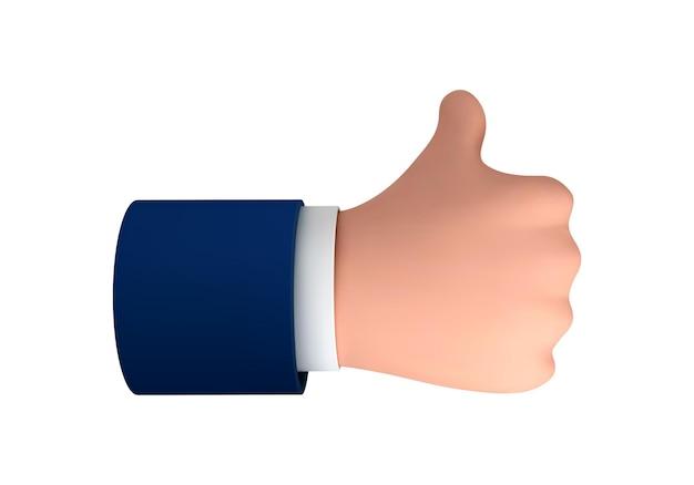 벡터 만화 인간의 손은 흰색 배경에 격리된 성공이나 좋은 피드백을 위해 엄지손가락을 치켜듭니다. 긍정적인 개념과 같은 상징의 벡터 그림.