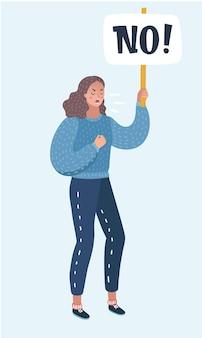 징후가 없는 여성 시위대의 벡터 만화 삽화. 배너, 투명성 항의. 여성 피켓 권리 또는 무언가에 대한 개념. 격리 된 흰색 배경에서 여성 캐릭터입니다.