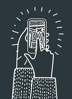 Vector cartoon illustation of tourist using navigation app on the mobile phone. black and white concept in modern style. route and destination point on dark background.