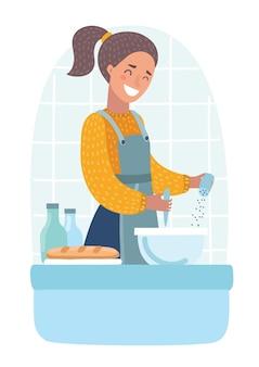 キッチンのストーブのそばに立って料理をしている女性のベクトル漫画イラスト。白い背景のキャラクター。