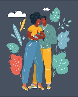 Vector cartoon illustration of african american couple lulling their baby.+