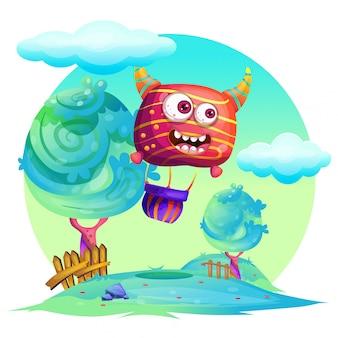 Vector cartoon illustration air balloon