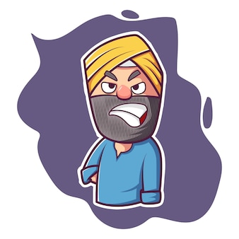 Vector cartoon illustration of angry punjabi man.