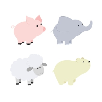Vector cartoon illustration of baby animals including pig, elephant, bear, sheep.