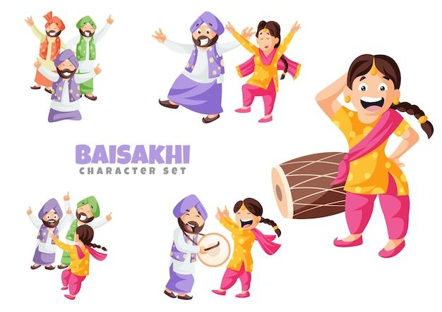 Vector cartoon illustration of baisakhi character set
