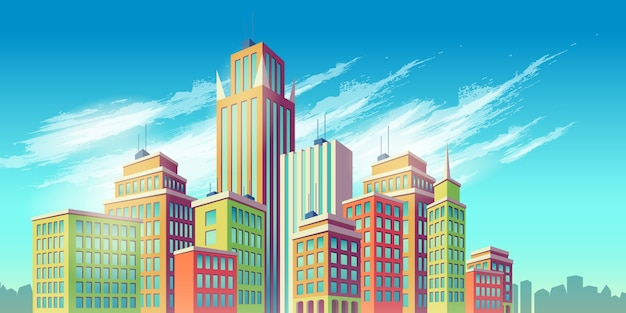 Vector cartoon illustration, banner, urban background with modern big city buildings