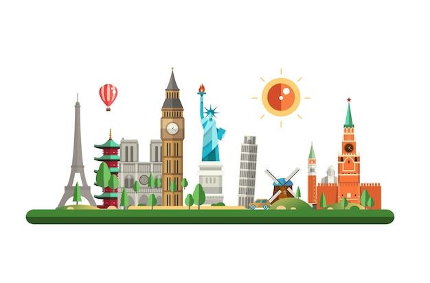 現代の大都市の建物とベクトル漫画イラストバナー都市の背景