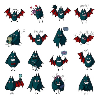 Vector cartoon illustration of bat set.
