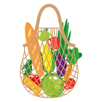 Vector cartoon illustration of beige grocery string or turtle mesh bag with healthy food isolated on white background
