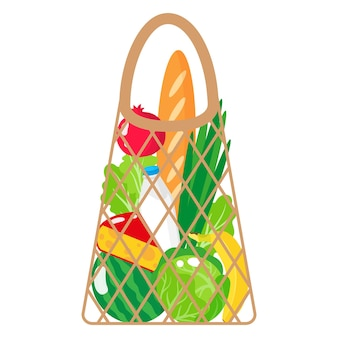 Vector cartoon illustration of beige grocery string or turtle mesh bag with organic food isolated on white background