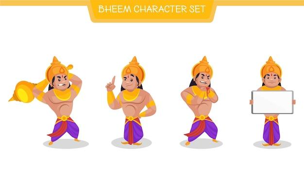 Vector cartoon illustration of bheem character set