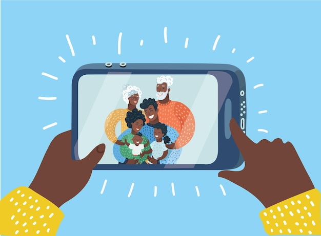 Vector cartoon illustration of black family taking a selfie photo with smartphone or make videocall. three generation. laughing mother, father and sons. grandmother, grandfather on display.