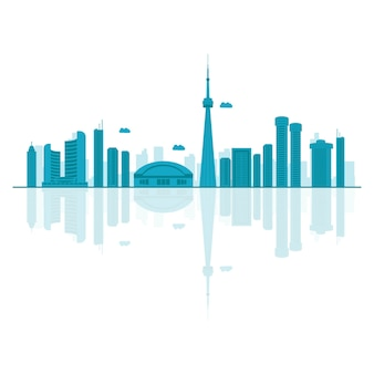 Vector cartoon illustration of canada skyline.