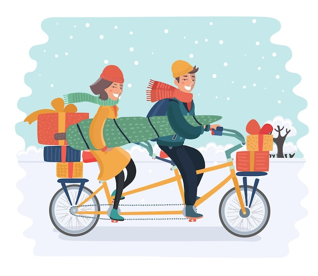 Vector cartoon illustration of cheerful family couple riding a bike with box gift and christmas tree on snowy landscape. happy holiday winter concepept