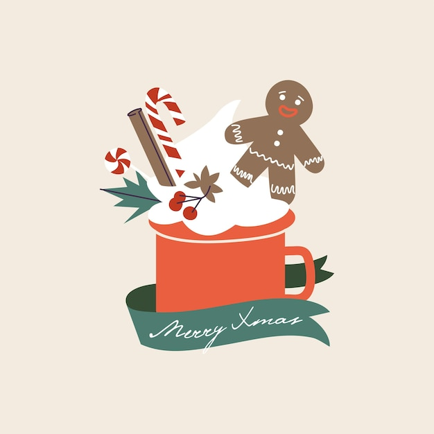 Vector cartoon illustration christmas seasonal card with cup of cacao and cream, gingerbread man and cinnamon, licorice stick. holiday composition with mug of hot drink.