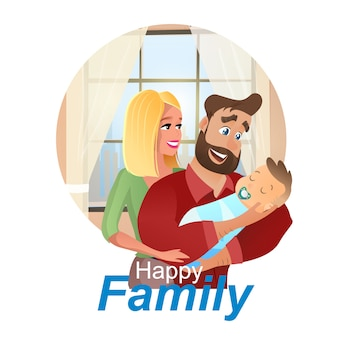 Vector cartoon illustration concept happy family