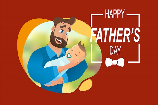Vector cartoon illustration concept happy father
