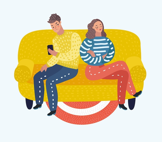Vector cartoon illustration of couple is offended with each other