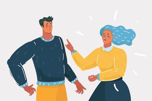 Векторные иллюстрации шаржа. пара людей ссорятся и ругаются. агрессивная женщина кричит на мужчину. человеческий характер на белом фоне.