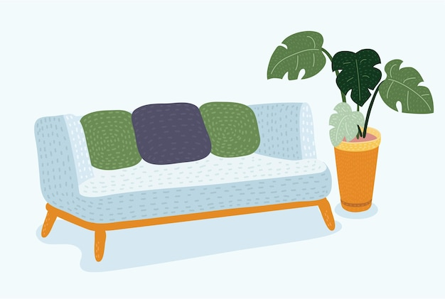 Vector cartoon illustration of cozy couch sofa on a wooden frame for modern living room. monstera plant in pot behind. isolated object on white background. isolated vector illustration.