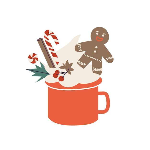 Vector cartoon illustration cup of cacao and cream, gingerbread man and cinnamon, licorice stick. christmas holiday composition with mug of hot drink.