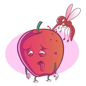 Vector cartoon illustration of cute apple.