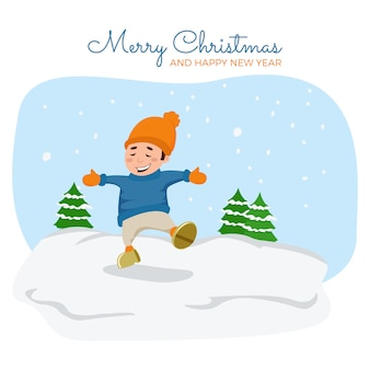 Vector cartoon illustration. cute boy is playing in snow.