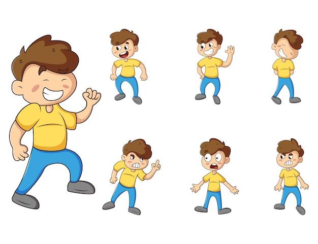 Vector cartoon illustration of cute boy sticker set