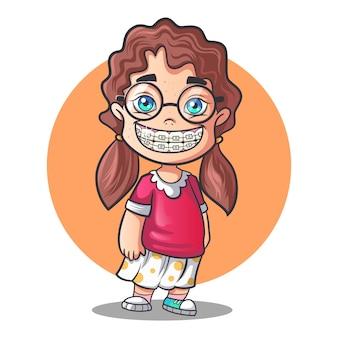 Vector cartoon illustration of cute girl.