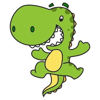 Vector cartoon illustration of cute green dinosaur jumping.