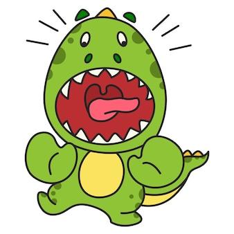 Vector cartoon illustration of cute green dinosaur scare.