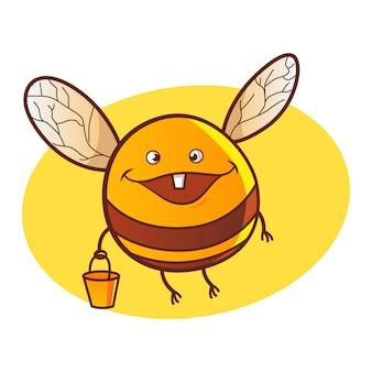 Vector cartoon illustration of cute honey bee.