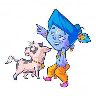 Vector cartoon illustration of cute krishna with cow calf.
