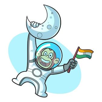 Vector cartoon illustration of cute monkey robot.