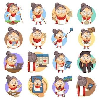 Vector cartoon illustration of cute old lady set.