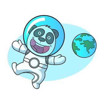 Vector cartoon illustration of cute panda robot.