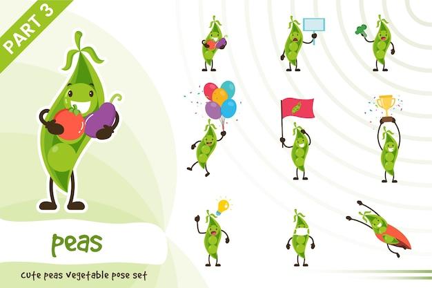 Vector cartoon illustration of cute peas vegetable set