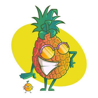 Vector cartoon illustration of cute pineapple.