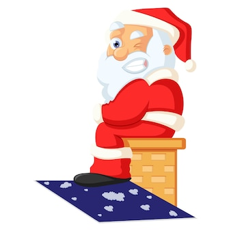 Vector cartoon illustration. cute santa is sitting on the bench and making eyes.