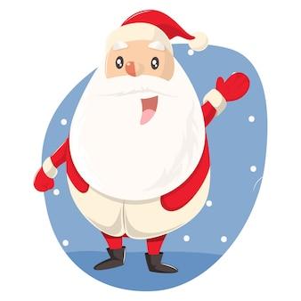 Vector cartoon illustration of cute santa saying hi.