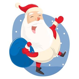Vector cartoon illustration. cute santa with gift bag.