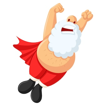 Vector cartoon illustration of cute superhero santa.