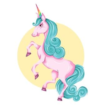 Vector cartoon illustration of cute unicorn.