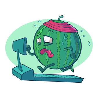 Vector cartoon illustration of cute watermelon.