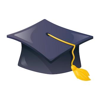Vector cartoon illustration of a dark blue rectangular academic cap with tassel. education, college or university symbol.