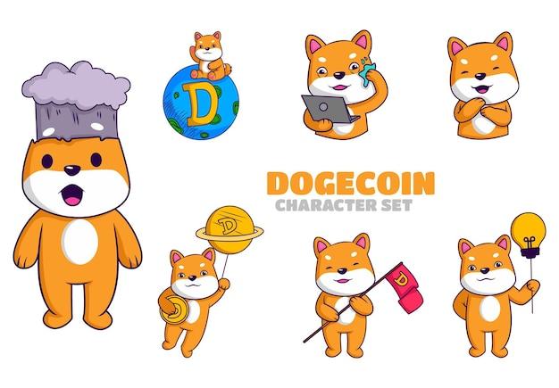 Vector cartoon illustration of dogecoin character set