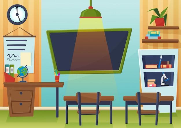 Vector cartoon illustration of empty school classroom with chalkboard and desks.