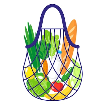 Vector cartoon illustration of grocery string or turtle mesh bag with healthy organic food isolated on white background