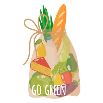Vector cartoon illustration of grocery transparent eco bag with healthy organic food isolated on white background